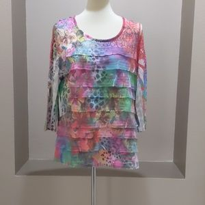 Cubism Mixed Print Multicolor Tiered Blouse